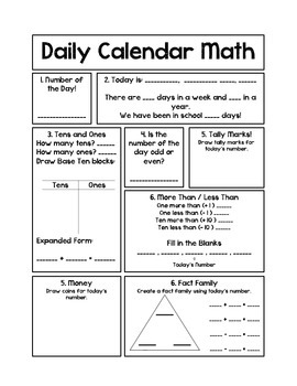 Daily Calendar Math Journal
