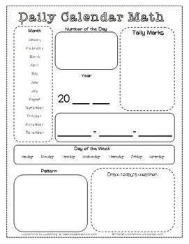 Daily Calendar Math Page