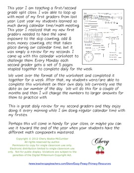 Daily Calendar Math Review