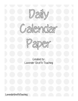 Daily Calendar Page
