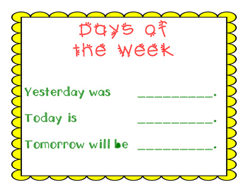 Daily Calendar Routine ~ Days of the Week