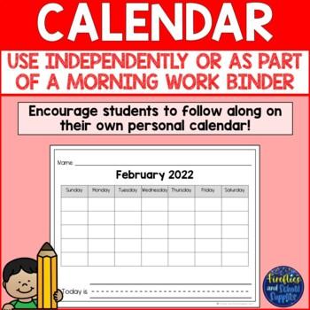 Daily Calendar Sheets