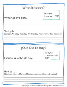 Daily Calendar Time Worksheet in English and Spanish