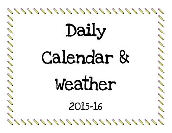 Daily Calendar & Weather Worksheets