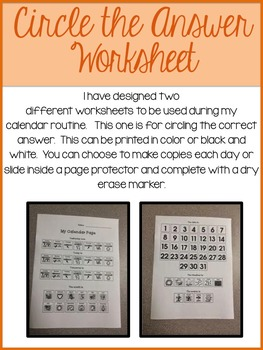 Daily Calendar Worksheet- Circling the Correct Answer