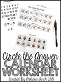 Daily Calendar Worksheet- Circling the Correct Answer