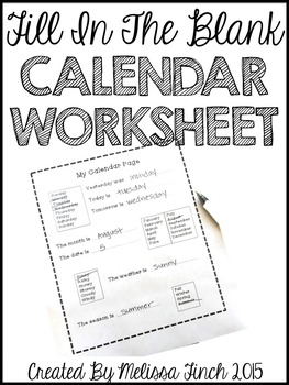 Daily Calendar Worksheet- Fill in the Blank
