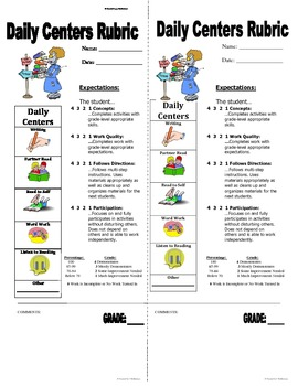 Daily Centers Rubric #3 (with different percentages and mini rubrics)