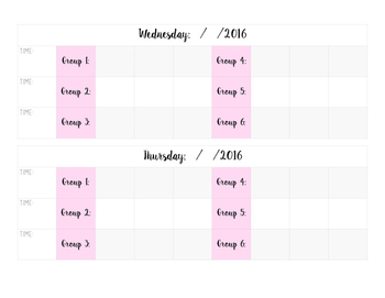 Daily Centers Schedule Printable