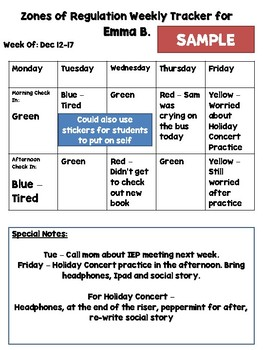Zones Of Regulation Daily Check In Out With Daily And