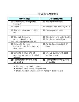Daily Checklist-Editable