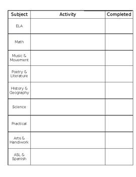 Daily Checklist Planner Pages for Homeschool