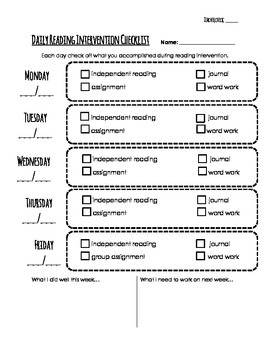 Daily Checklist for Reading Workshop