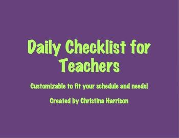 Daily Checklist for Teachers