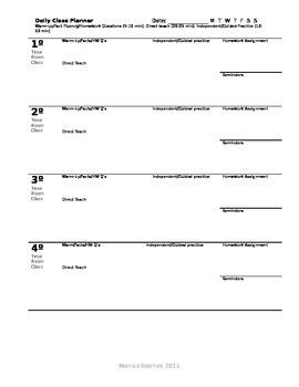 Daily Class Planner for Teachers