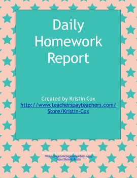 Daily Class Report and Reading Log