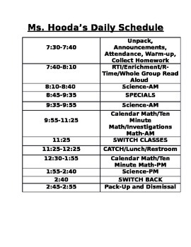 Daily Class Schedule *Editable*