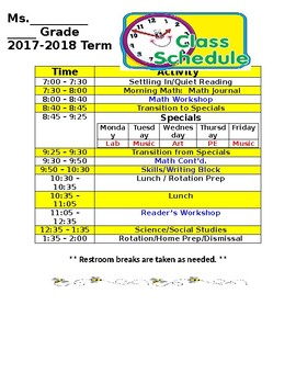 Daily Class Schedule-Editable