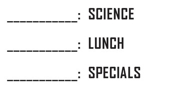 Daily Class Schedule ~ Spy Theme