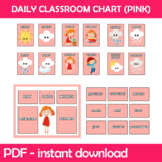 Daily Classroom Chart (Pink Edition) Instant Download PDF;