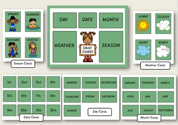 Daily Classroom Chart for Pre-k and Kindergarten (Green Edition)