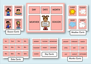 Daily Classroom Chart for Pre-k and Kindergarten (Pink Edition)