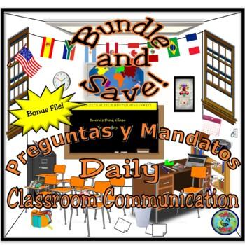 Daily Classroom Interaction Bundle; Preguntas, Mandatos y Otras Expresiones