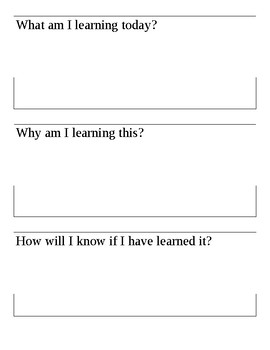 Daily Classroom Learning Objectives and Goal Setting Template