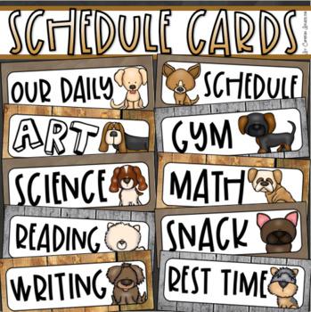 Daily Classroom Schedule Agenda Cards Dog Theme Editable