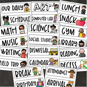 Daily Classroom Schedule Agenda Cards Editable