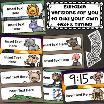 Daily Classroom Schedule Agenda Cards Jungle Safari Theme Editable