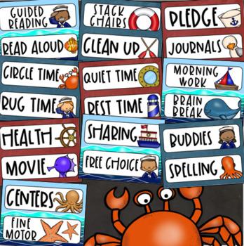 Daily Classroom Schedule Agenda Cards Nautical Sailing Sailor Sea Theme Editable