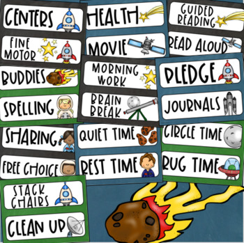 Daily Classroom Schedule Agenda Cards Outer Space Theme Editable