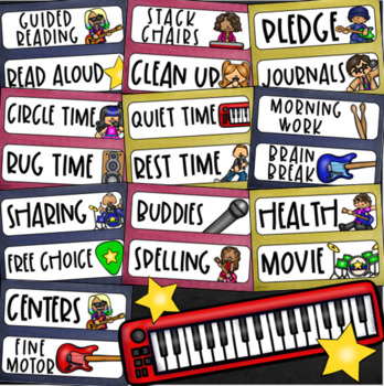 Daily Classroom Schedule Agenda Cards Rockstar Rock and Roll Theme Editable