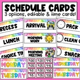 Daily Classroom Schedule Cards || EDITABLE || Time Cards Included