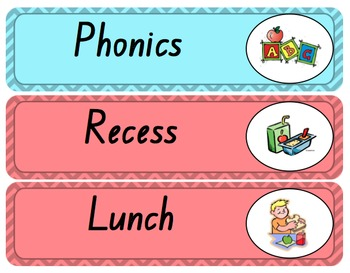 Daily Classroom Schedule Cards Timetable Display