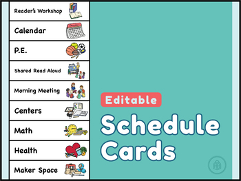 Daily Schedule Cards with Original Clip Art