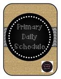 Daily Classroom Schedule in Burlap
