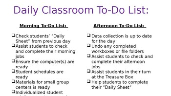Daily Classroom To Do List for Staff - Editable