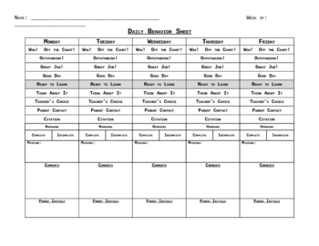 daily clip chart behavior sheet by lori musa teachers pay teachers