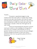 Daily Color Word Work