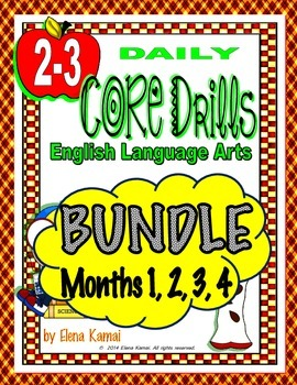 Daily Common Core Drills BUNDLE~ Months 1, 2, 3, & 4 {Gr.