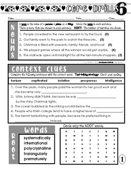 Daily Common Core Drills ~ Month One {gr. 6 ELA Worksheets}