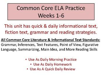 Daily Common Core ELA Practice Weeks 1-6