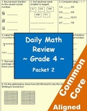 Daily Common Core Math Review Sheets - 4th Grade - Packet 2
