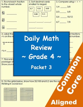 44c teaching resources teachers pay teachers daily common core math review sheets 4th grade packet 3 fandeluxe Image collections