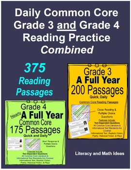 Daily Common Core Reading Grade 3 and Grade 4 Combined