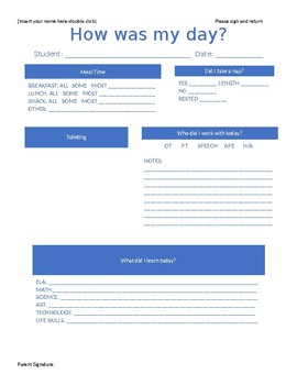 Daily Communication Form