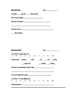 Daily Communication Form for Parents and Teachers