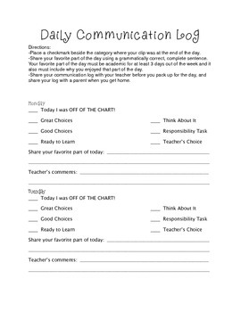 Daily Communication Log